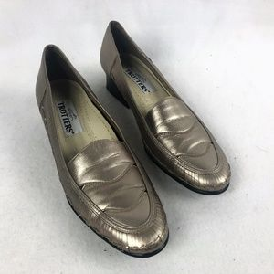 Trotters Gold Slip On Loafers